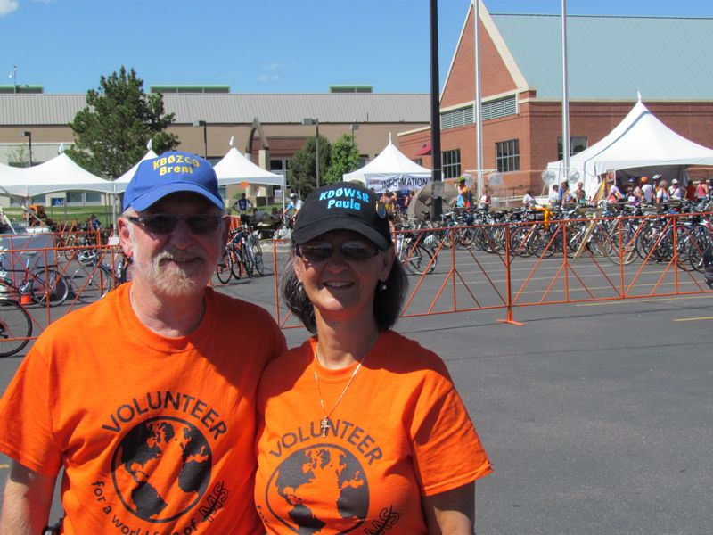 Paula Sa and Brent Haberer, ham radio operators volunteering for Ride MS 2014