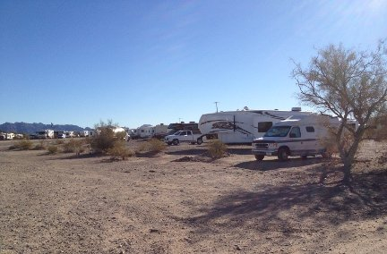 Hi Jolly BLM Campground, Quartzite, AZ with my van near the tree.